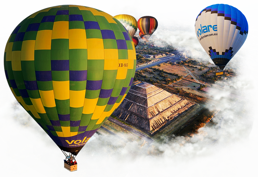 hot air balloons in teotihuacan